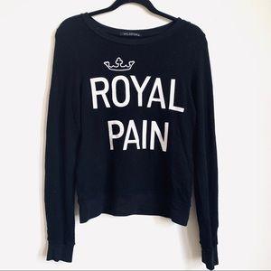 "Wildfox   'Royal Pain"" Black Long Sleeve Sweater"